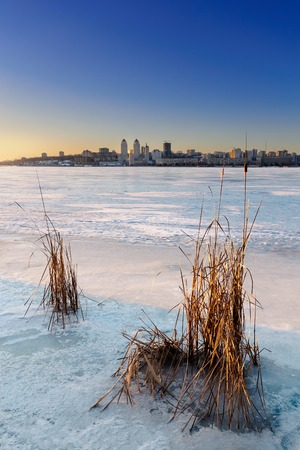 frozen lake: Beautiful winter landscape with frozen lake and sunset sky. Composition of nature. Ukraine, Dnepropetrovsk