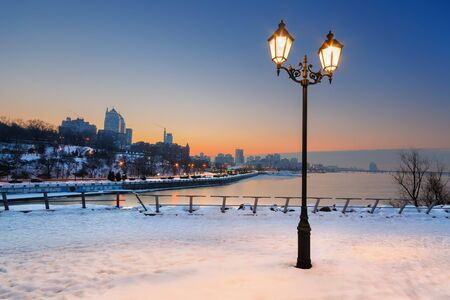dnepr: Beautiful lantern with a view of the city at night. Dnepropetrovsk. Ukraine