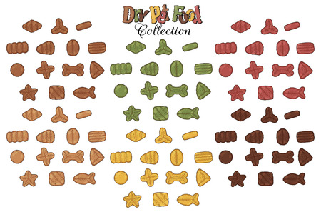 Collection of images on the theme of dry food for cats and dogs. Vector goodies for pets.