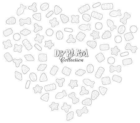 Collection of images on the theme of dry food for cats and dogs. Vector goodies for pets grouped in the form of a heart, colorless doodles.