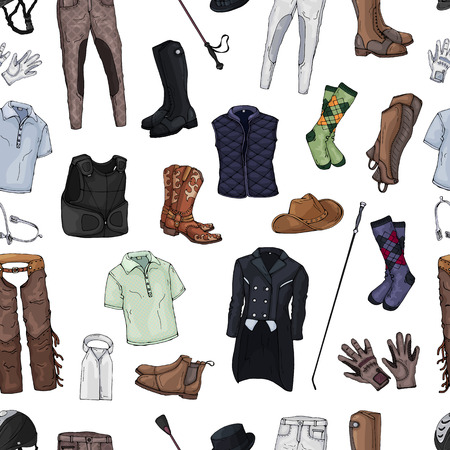 Pattern of isolated objects on the rider equipment theme. Vector colorful images of sports outfits and clothes for the horse rider.