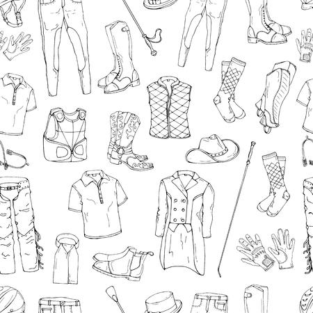 Muster von Objekten zum Thema Fahrerausstattung. Vector Bilder von Sportausstattungen und -kleidung für den Reiter.