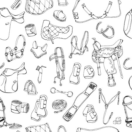 Group of vector illustrations on the theme horse ammunition; Pattern of isolated objects for equestrian sport and care.