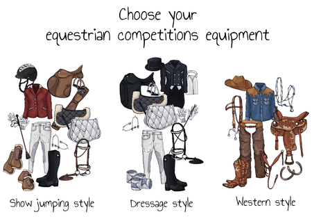 Vector colorful illustrations on the theme horse ammunition and rider outfit; set of groups of objects for equestrian sport competitions. Pictures contain realistic shadows and glare. Vetores