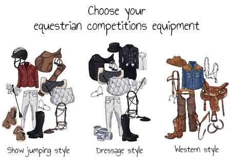 Vektor bunte Illustrationen auf dem Thema Pferdemunition und Reiterausstattung; Satz von Gruppen von Objekten für Pferdesportwettkämpfe. Bilder enthalten realistische Schatten und Blendung. Vektorgrafik