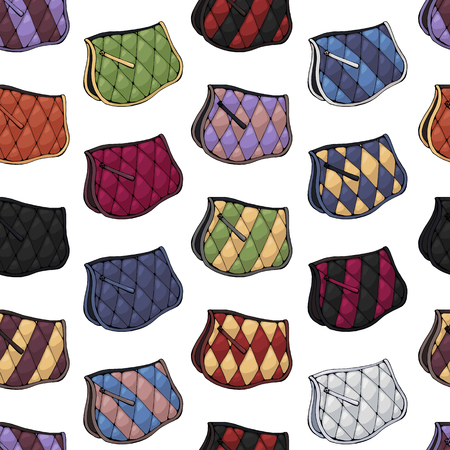 Vector pattern for packaging with illustrations of equestrian ammunition. Set of multi-colored saddlecloths.
