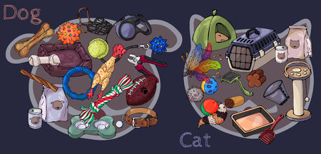 Collection of vector images of accessories for cats and dogs. Set of items for pet care. Assortment of goods for the pet shop. Illustration