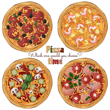 Group of vector colorful illustrations on the pizza theme; several kinds of pizzas, cooked according to different recipes. Pictures contain realistic shadows and glare.