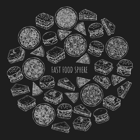 Vector illustrations on the fast food theme; set of different kinds of burgers, pizzas and sandwiches. Pictures are depicted as white sketches on a dark background. Ilustração