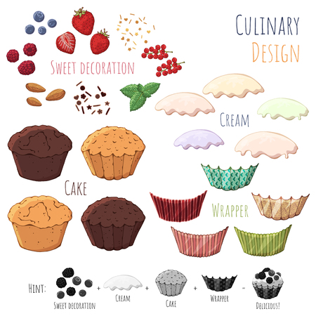 Group of vector colorful illustrations on the sweets theme; set of isolated products for cooking cupcake. Pictures contain realistic shadows and glare. Vector Illustration