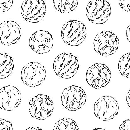 Wzór kolorowych ilustracji wektorowych na temat słodyczy; zestaw różnego rodzaju kulek lodowych. Zdjęcia są przedstawiane jako ciemne szkice na białym tle.