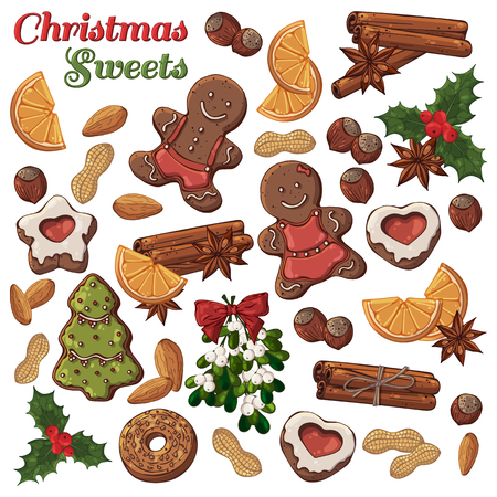 Group of vector colorful illustrations on the Christmas Traditions theme; set of different kinds of Christmas symbols and sweets: candies, fruits and nuts. Pictures contain realistic shadows and glare.