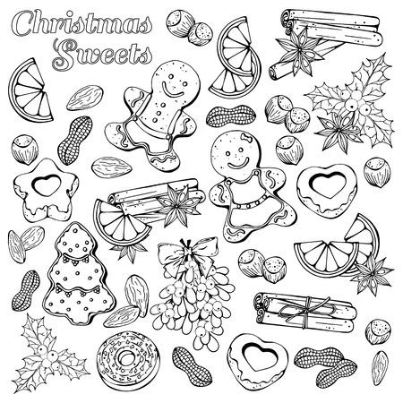 Gruppe von Vektorillustrationen zum Thema Weihnachtstraditionen; Set verschiedene Arten von Weihnachtssymbolen und Süßigkeiten: Süßigkeiten, Früchte und Nüsse. Bilder werden als dunkle Skizzen auf weißem Hintergrund dargestellt.
