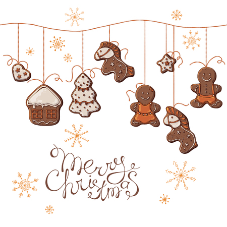 Group of vector colorful illustrations on the New Year Traditions theme; set of Christmas gingerbreads hanging on beads. Pictures contain realistic shadows and glare.