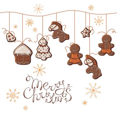 Gruppe bunte Illustrationen des Vektors zum Thema der Traditionen des neuen Jahres; Satz Weihnachtslebkuchen, die an Perlen hängen. Bilder enthalten realistische Schatten und Blendung.