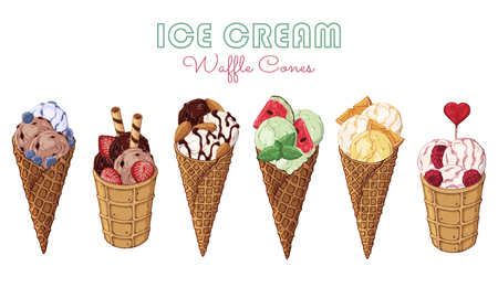 Group of vector colorful illustrations on the sweets theme; set of different kinds of ice cream in waffle cones decorated with berries, chocolate or nuts. Realistic isolated objects for your design. Illustration