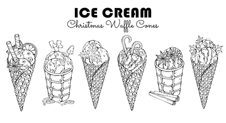 Group of vector illustrations on the Christmas sweets theme; set of different kinds of ice cream in waffle cones decorated with berries, chocolate or nuts. Realistic isolated objects for your design.