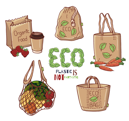 Group of vector colorful illustrations on the environmental protection theme. No plastic. Zero waste. Eco lifestyle. Isolated objects for your design.