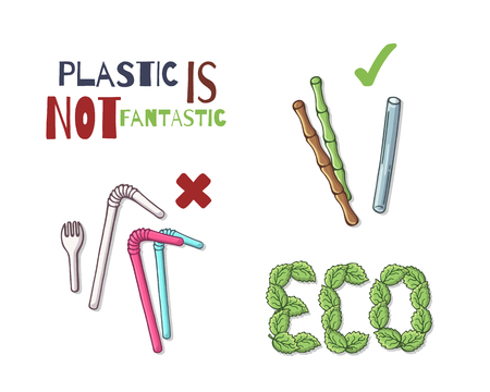 Group of vector colorful illustrations on the environmental protection theme. Reusable items instead of plastic. Isolated objects for your design.