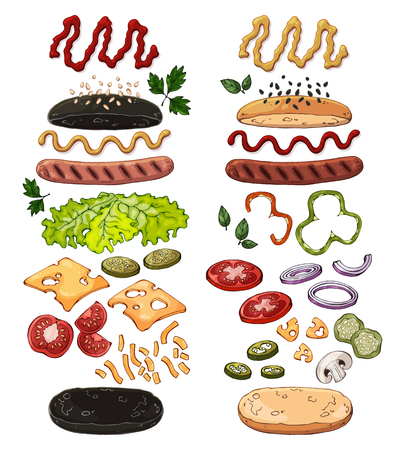 Group of vector colorful illustrations on the fast food theme; set of products for cooking hotdogs. Isolated objects for your design.