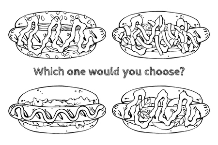 Group of vector illustrations on the fast food theme; set of different kinds of hotdogs. Isolated objects for your design.