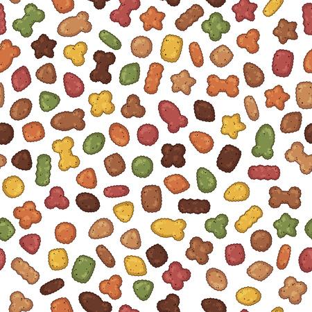 Patrón de ilustraciones coloridas de vectores sobre el tema de la nutrición; set de alimento seco para perros y gatos. Objetos aislados realistas para su diseño.