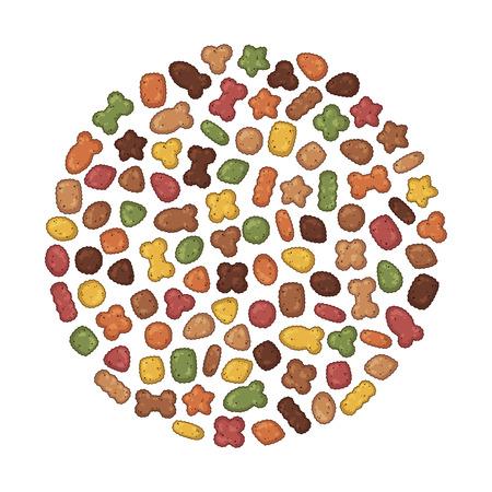 Grupo de ilustraciones coloridas de vectores sobre el tema de la nutrición; set de alimento seco para perros y gatos. Objetos aislados realistas para su diseño. Ilustración de vector
