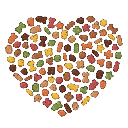 Grupo de ilustraciones coloridas de vectores sobre el tema de la nutrición; set de alimento seco para perros y gatos. Objetos aislados realistas para su diseño.