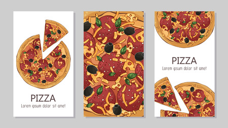 Vector colorful illustrations on the pizza theme; pizzas from different recipes. Template for advertising products. Cards for your design. Illustration