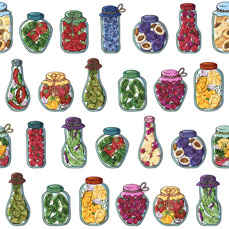 Pattern of vector colorful illustrations on the nutrition theme; jars of canned vegetables and fruits. Realistic isolated objects for your design. Each object can be changed and moved.