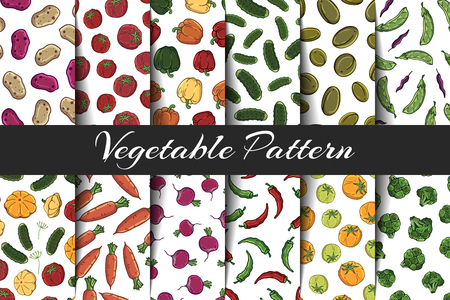 Set of vector patterns on the vegetables theme. 일러스트