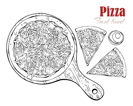 Vector illustrations on the fast food theme: pizza on a board. Isolated objects for your design. Each object can be changed and moved.