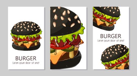 Template for advertising burgers from different recipes. Standard-Bild - 122186898