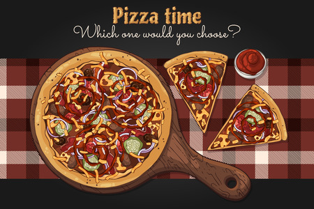Vector illustrations on the fast food theme: pizza on a board. Isolated objects for your design. Each object can be changed and moved. Vektorové ilustrace