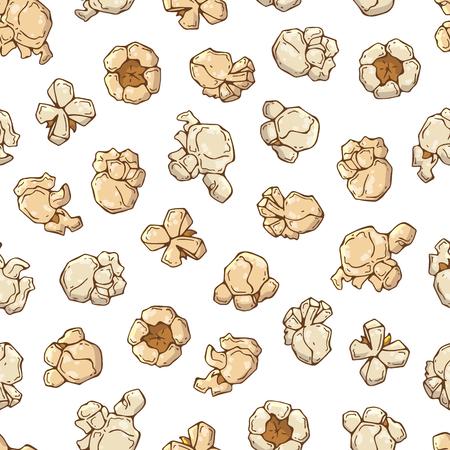 Vektorgrafiken zum Thema Snacks: Popcorn-Muster. Isolierte Objekte für Ihr Design. Jedes Objekt kann geändert und verschoben werden. Vektorgrafik