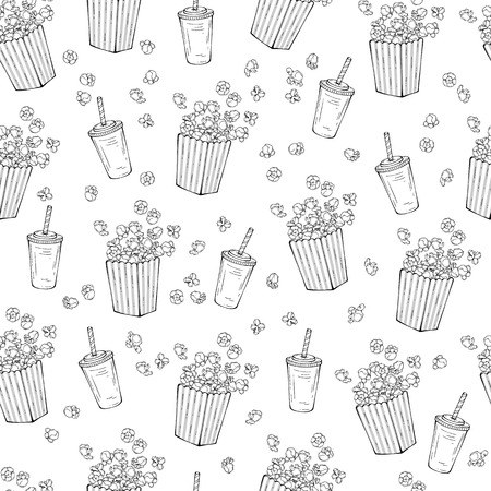 Vector illustrations on the snacks theme: popcorn pattern. Isolated objects for your design. Each object can be changed and moved. Иллюстрация