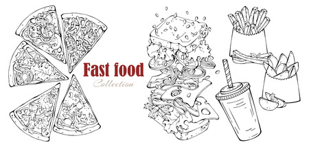 Vector fast food: sandwich, country potatoes, pizza, drink. Illustration
