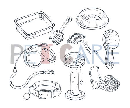 Group of vector illustrations on the pet care theme accessories for cats and dogs. Isolated objects for your design. Each object can be changed and moved.