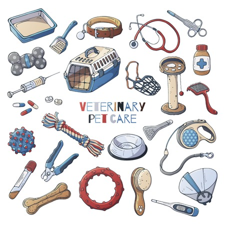 Group of vector illustrations on the veterinary pet care theme accessories for cats and dogs. Isolated objects for your design. Each object can be changed and moved.