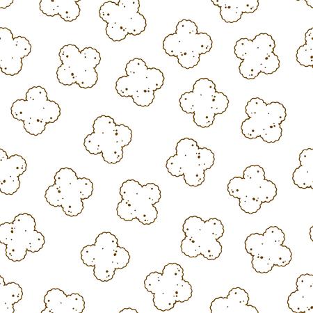 Patrón de ilustraciones vectoriales sobre el tema de nutrición comida seca para perros y gatos. Objetos aislados realistas para su diseño.