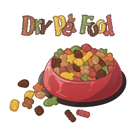 Group of vector colorful illustrations on the nutrition theme Bowls with dry food for dogs and cats. Realistic isolated objects for your design.