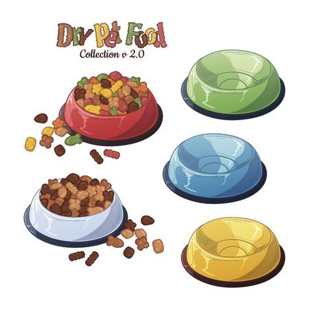 Cuencos de vector con comida seca para perros y gatos.
