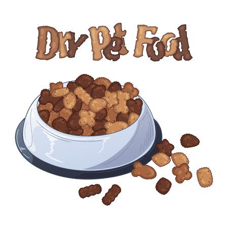 Grupo de ilustraciones coloridas de vectores sobre el tema de la nutrición Cuencos con alimento seco para perros y gatos. Objetos aislados realistas para su diseño.