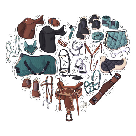 Vector illustrations on the equestrian theme accessories and clothing for horses and riders. Isolated objects for your design. Each object can be changed and moved. Иллюстрация