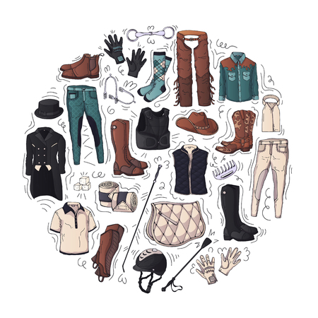 Vector illustrations on the equestrian theme accessories and clothing for horses and riders. Isolated objects for your design. Each object can be changed and moved. Vettoriali