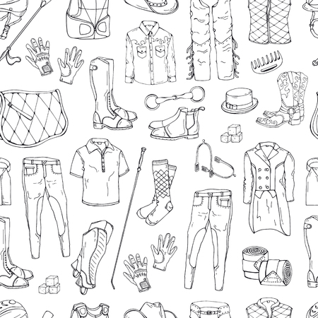 Vector pattern. Illustrations on the equestrian theme accessories and clothing for horses and riders. Isolated objects for your design. Each object can be changed and moved.