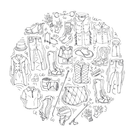 Vector illustrations on the equestrian theme accessories and clothing for horses and riders. Isolated objects for your design. Each object can be changed and moved. Illustration