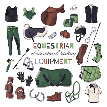 Vector illustrations on the equestrian theme. Horseback riding: accessories and clothing for horses and riders. Isolated objects for your design. Each object can be changed and moved. Illustration