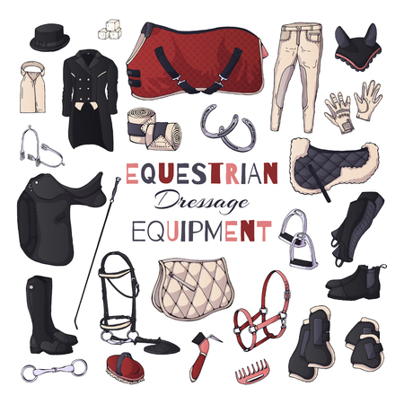 Vector illustrations on the equestrian theme. Dressage: accessories and clothing for horses and riders. Isolated objects for your design. Each object can be changed and moved.