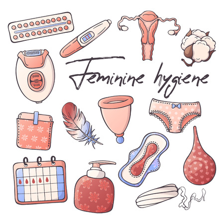 Vector illustrations on the feminine hygiene theme: accessories for the care of the female body. Isolated objects for your design. Each object can be changed and moved.